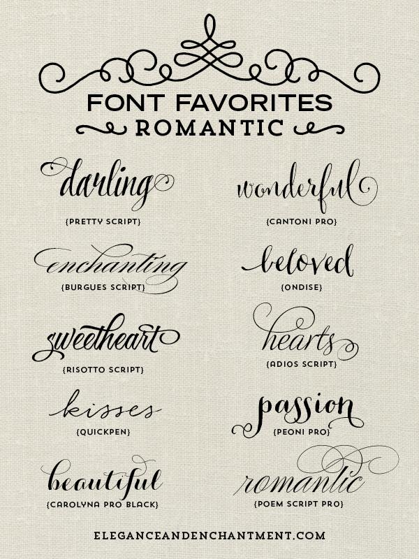 Font favorites romantic elegance enchantment original