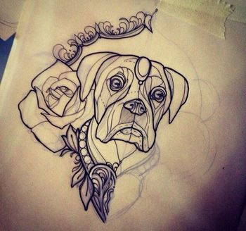 neo traditional tattoo dog