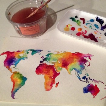 My first photo on Instagram! Watercolored world map for the new Hearts of the World website (in progr