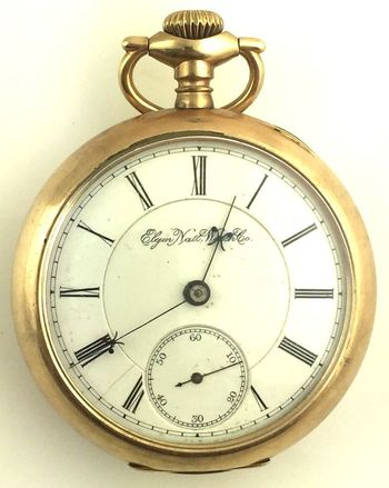 B.W. RAYMOND ELGIN 15 JEWEL 18S RAILROAD POCKET WATCH  C1890 WORKING ORDER