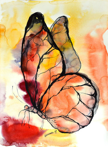 Butterfly watercolor painting, original artwork. Nature wall art for hotel, office or home. Unique gift for birthday. Watercolour picture.