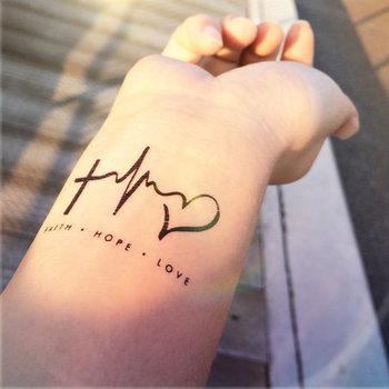 2pcs FAITH LOVE HOPE heartbeat tattoo - InknArt Temporary Tattoo - wrist quote tattoo body sticker fake tattoo wedding tattoo small tattoo