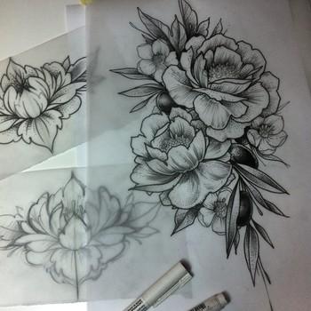 "Alex Tabuns on Instagram: ""Peonies <3 #tattoo #tattooart #flowers #flowertattoo #flowerart #tabuns #alextabuns #dotwork #blackwork #linework #peony #peonies"""