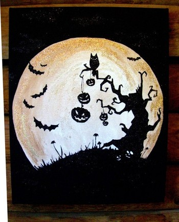 16x20 hand painted and glittered Halloween Art Black and Copper Glittered Halloween Art with bats, ow