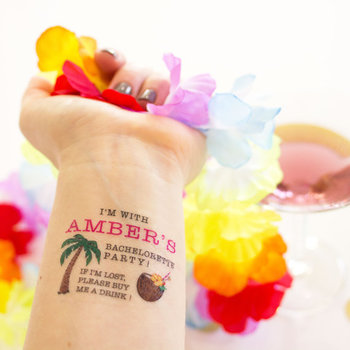 Bachelorette Party Temporary Tattoos, Tropical, If Lost, Buy Me a Drink, Pack of 10 Custom Tattoos in