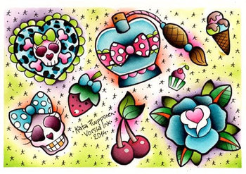 Vorssa Ink by Kata Puupponen Tattoo Flash Print Sheet cherries