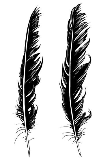 Crow Feather Tattoo Designs