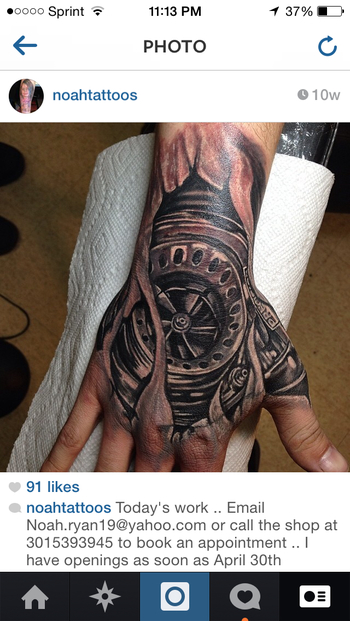 Turbo tattoo .hand tattoo . Black and grey ..