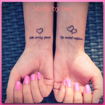 My new memory wrist tattoo.. For you mom! Miss you .. > We only part to meet again. Love my tattoo!