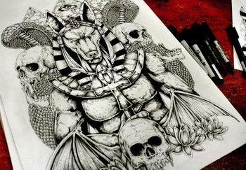 Anubis- Back Tattoo