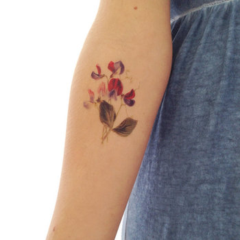 Vintage floral temporary tattoo - Sweet pea