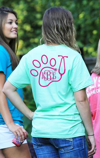 Vet Techs will love this Preppy Monogram Paw t-shirt from www.underthecarolinamoon.com