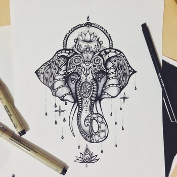 drawing Illustration art jewelry beautiful patterns elephant animal tattoo flower ink africa pen orna