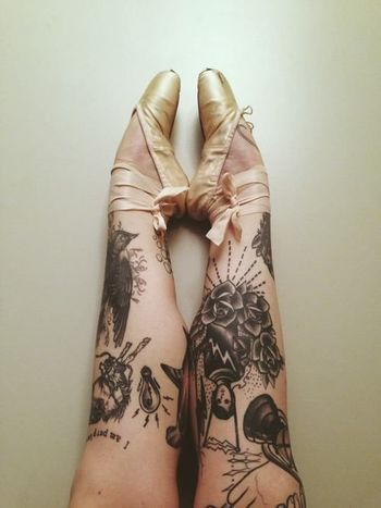 A bellet dancer with leg tattoos.... never let them stiffle your creativity