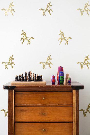 Funny and Funky Geometric Unicorn Wall Decal Pattern Set