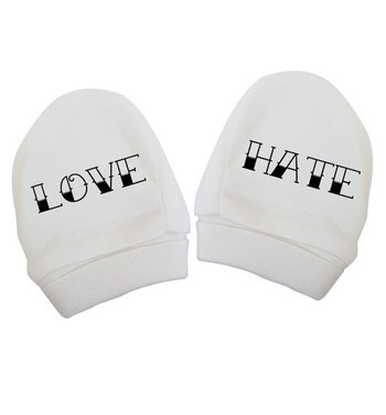 Love Hate baby mittens cute funny joke white tattoo ink inked instagram tumblr weheartit newborn to 18 - 24 months 73