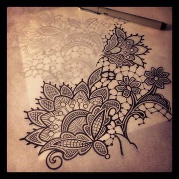 #lace #drawing #pencil #micron #wip by BuffyHotrod on Backspaces
