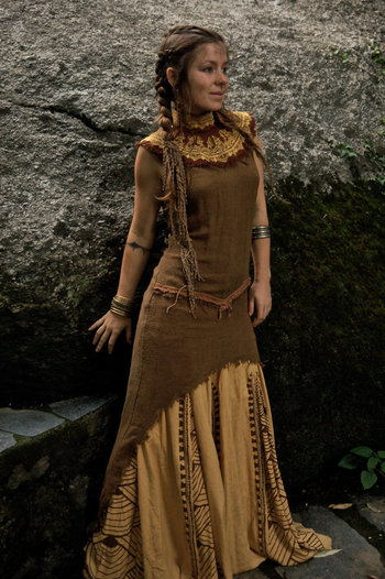 Tara Tribal No sleeve Dress Made of fine Raw Silk Natural Eco friendly Ethnic with Embroidery made by