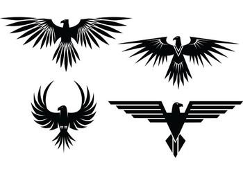 XOO Plate :: 4 Eagle Symbol Tattoo Style Vector Graphics