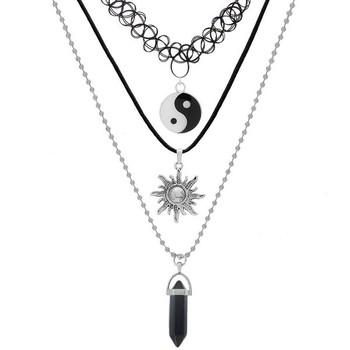 Amazon.com: MJARTORIA Multilayer Gothic Black Elastic Henna Tattoo Vintage Stretch Choker Quartz Necklace Set of 3: Jewelry