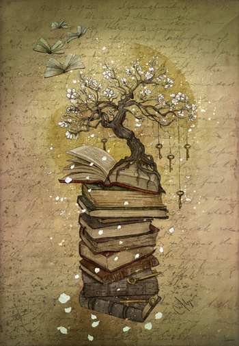 Knowledge is the key Art Print by Marine Loup