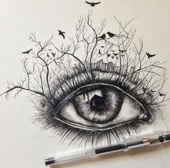 Okay, this is a more creative take on the eye. Often, I just see people trying to make dewy, beautiful,