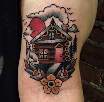 22 Log Cabin Tattoos To Give You That Rustic Feeling! | Tattoodo.com