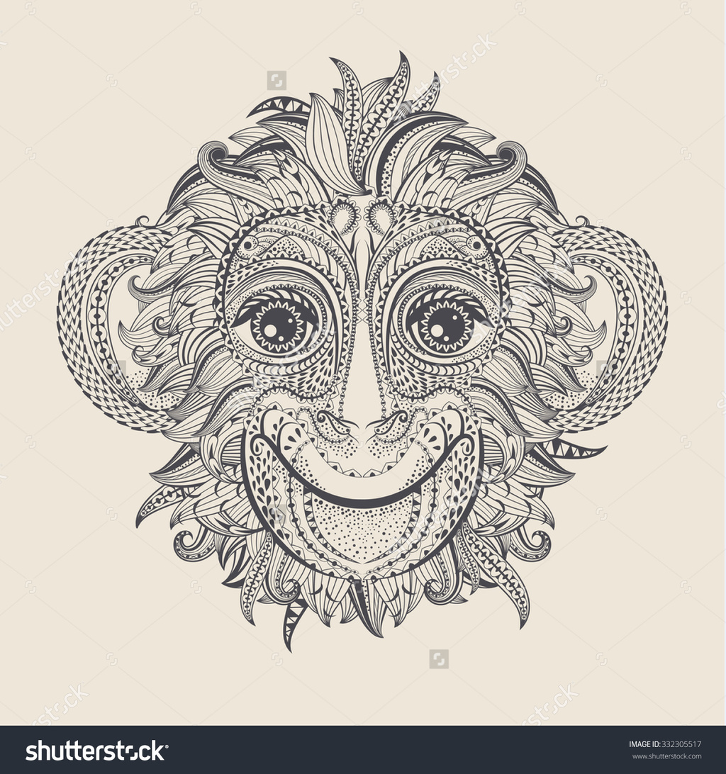 Patterned head of the monkey tattoo design vector illustration original
