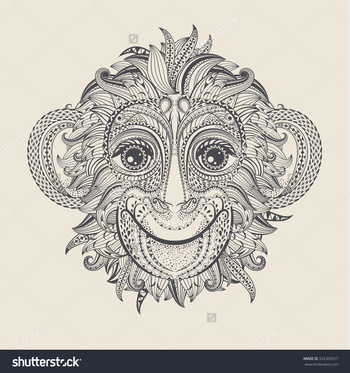 Patterned head of the monkey. Tattoo design. Vector illustration.