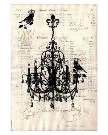 Vintage Chandelier & French Script Art Print. Original Art printed on Antique Paper by The Decorated