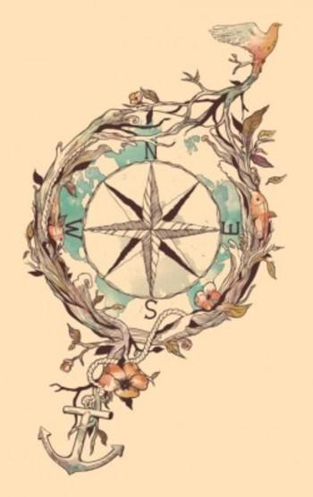 compass-anchor-bird-plants-illustration-art-design