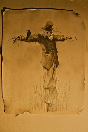 octoberillustrations: Did a Steampunk-ish scarecrow tattoo design for a client this week.  Pencil on
