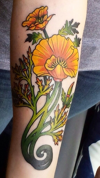 Art nouveau poppy by Mason Larose at Tattoo Zoo; Victoria, Canada.