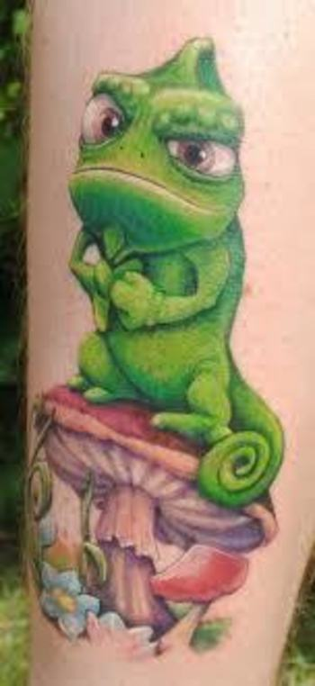 disney tattoos tangled gecko