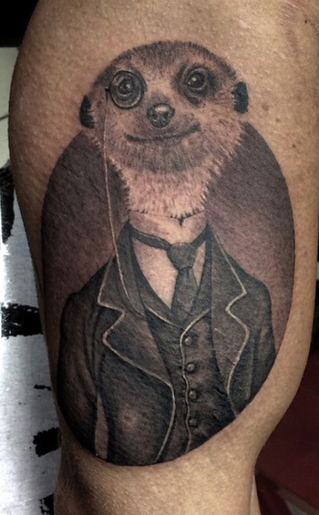 My meerkat in style tattoo, with a 3 piece suit on. Done by Massimo Luciani @ Schiffmacher & Veldhoen