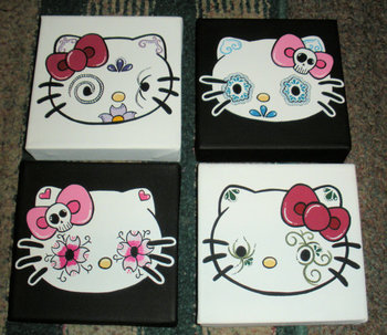 More Hello Kitty :) Just love the Day of the Dead Hello Kitty artwork from this Etsy seller. $75