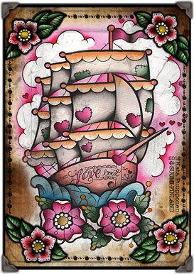 Love boat tattoo flash print sheet by vorssaink on etsy 14 00 original
