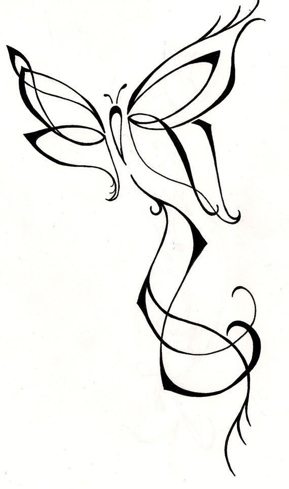 Feminine butterfly original tattoo design by silver wings tattoos at etsy com original