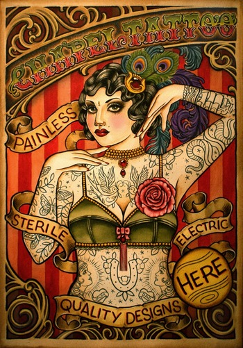 pennywhistles and moonpies.: Chapel Tattoo sideshow poster.