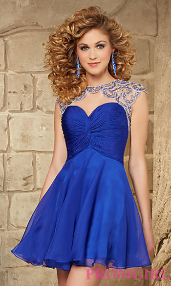 Short Sweetheart Dress with Cap Sleeves at PromGirl.com
