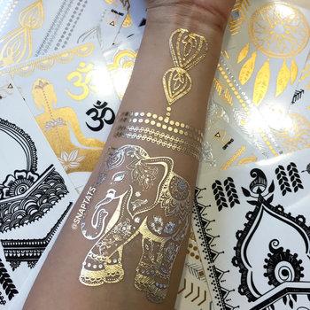 1 sheet- Elephant -Gold Tattoos, Silver Tattoos, Temporary Tattoos, Metallic Temporary Tattoos, Jewelry Tattoos, Gold Foil Tattoos