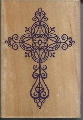 Elegant Cross Stamp NEW Wood Mounted Rubber by sagebrush12, $5.00