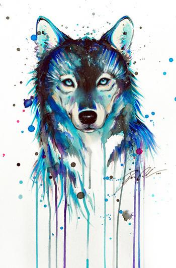 -Dark Wolf- Art Print by PeeGeeArts | Society6