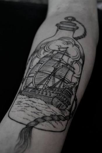 ship in a bottle #arm #tattoos