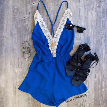 Love Quest Lace Romper - Blue