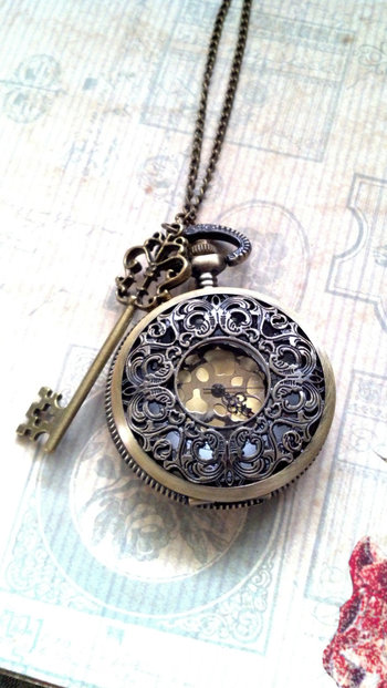 Steampunk pocket watch with skeleton key, from WhisperedWishes on Etsy ~ A day may come when I stop p