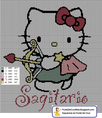 Punto De Cruz Horoscopo Hello Kitty Sagitario. www.puntodecruzweb.blogspot.com