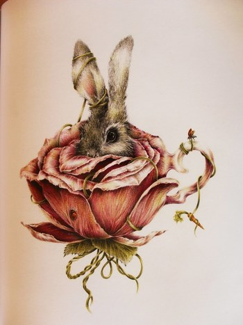 a white rabbit in a flower teacup. alice in wonderland/through the looking glass ink