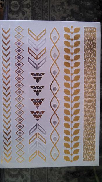 FLASH TATTOOS - Temporary Metallic Flash Tattoos - Gold / Silver / Skin Jewelry Henna / 1 Sheet in To