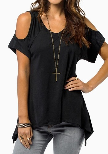 Black Plain Short Sleeve Wrap Dacron T-Shirt